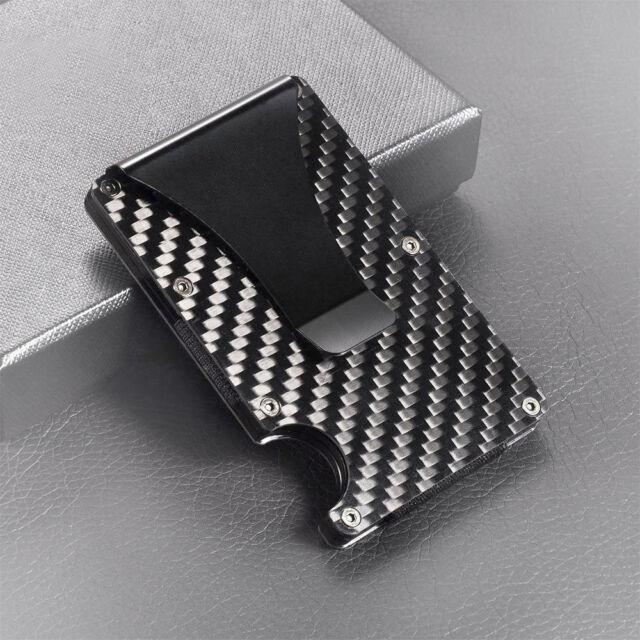 944b1039eb9 Black Carbon Fiber Metal Credit Card Holder RFID Blocking Wallet Money Clip