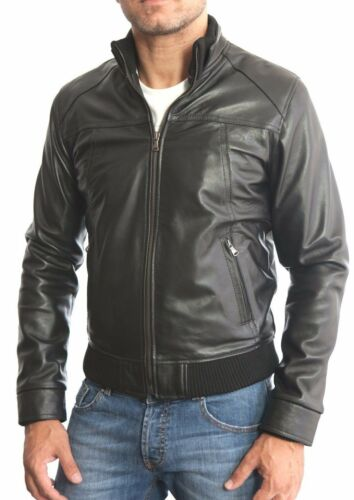 ★Giacca Giubbotto Uomo in di PELLE 100/% Men Leather Jacket Veste Homme Cuir 3z1a