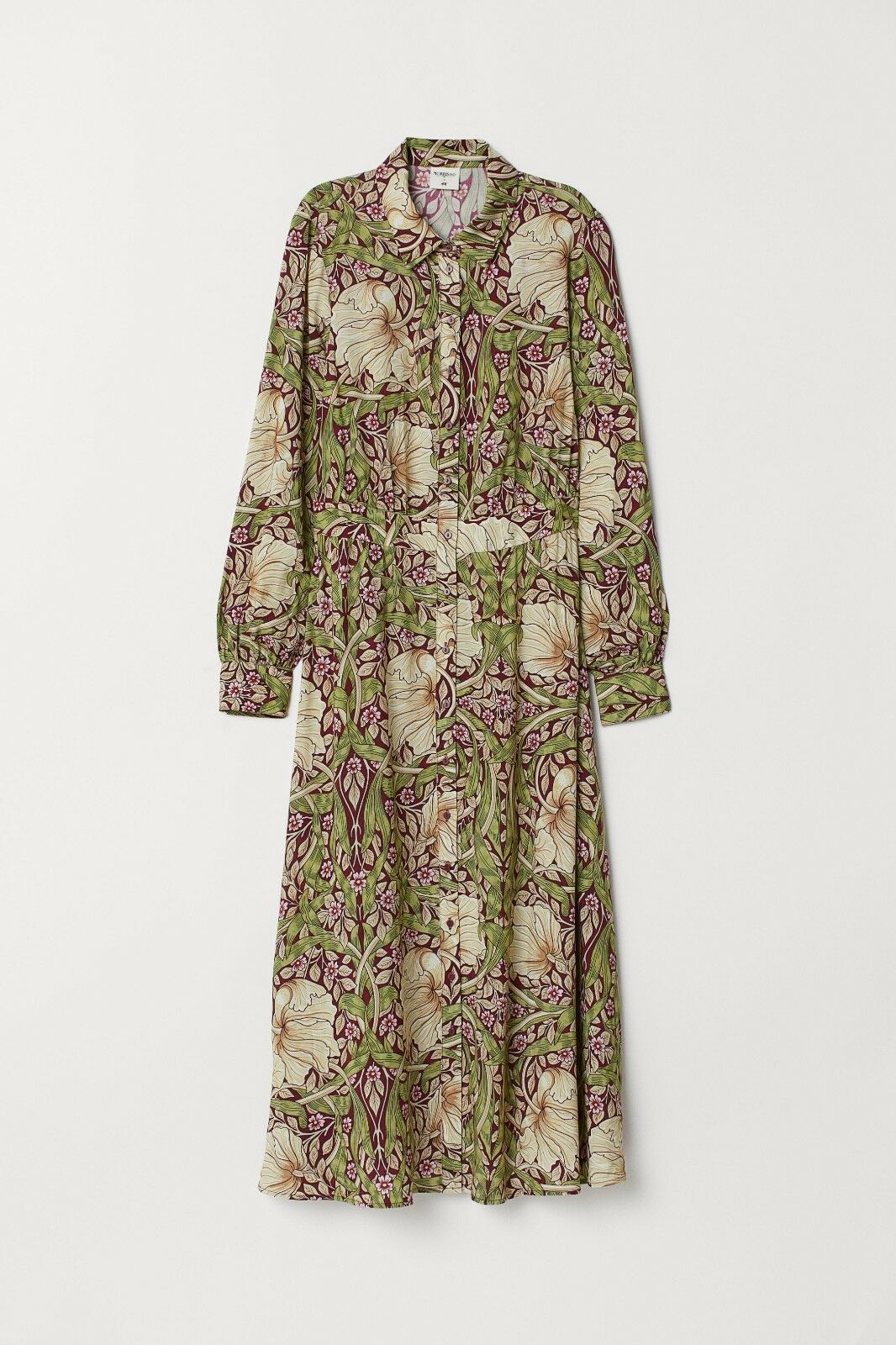 NWT - WILLIAM MORRIS & CO. x x x H&M BURGUNDY GREEN FLORAL MIDI SHIRT DRESS, Size 4 5fa718