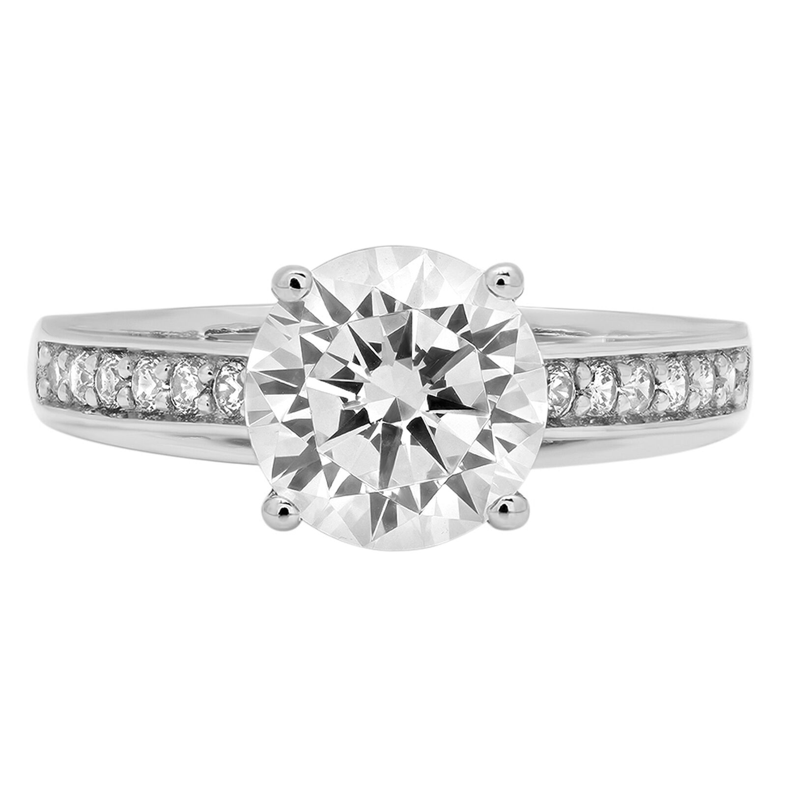 2.31ct Round Cut Accent Promise Engagement Wedding Bridal Ring 14K White gold