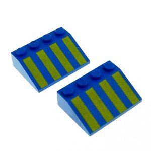 2-x-Lego-System-Dachstein-blau-3x4-33-schraeg-bedruckt-mit-Streifen-gelb-3297px2