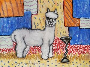 Alpaca-drinking-a-Martini-Pop-Art-Print-8-x-10-Wild-Collectible-Signed-by-Artist