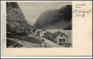 Norge-Norway-Norwegen-Brevkort-1906-GUDVANGEN-Vintage-Postcard-Street-View