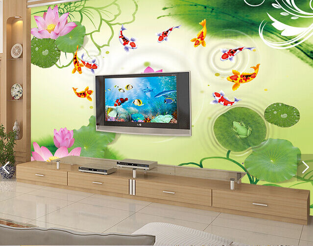 3D Farbeed Carp Lotus Pond 6 Paper Wall Print Wall Decal Wall Deco Indoor Murals