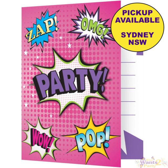 SUPER HERO GIRLS PARTY SUPPLIES 8 BIRTHDAY INVITATIONS PINK SUPERHERO INVITES