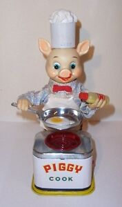 WORKING 1950's BATTERY OPERATED PIGGY COOK BURGER CHEF BBQ TIN LITHO TOY JAPAN