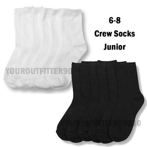 12-Pairs-Kid-039-s-6-8-Black-White-Uniform-School-Crew-Socks-Boy-039-s-Girl-039-s-Junior
