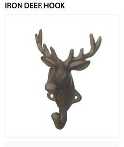 NEW-Cast-Iron-Deer-Stag-Coat-Hook-Key-Holder-Indoor-Outdoor-Storage-Wall-Mounted