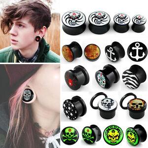 Pair-Logo-Double-Flared-Saddle-Screw-On-Ear-Plugs-Gauges-Skull-Owl-Wolf-Rose-US