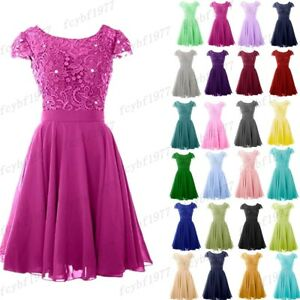 New Short Chiffon Bridesmaid Formal Gown Ball Party Evening Prom Dress Size 6-26