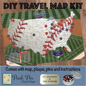 DIY Baseball Adventures Push Pin Travel Map Kit | eBay
