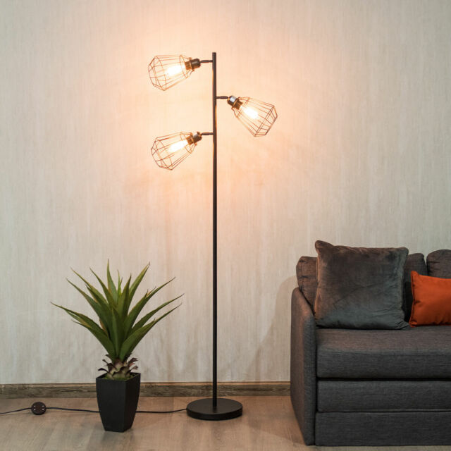 Modern 3 Light Tree Floor Lamp Adjustable Cage Shade With Foot Switch Room Decor