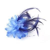 Women's Dance Party Wedding Feather Hair Head Flower Hairpin Brooch Clip