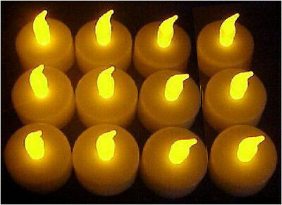 FLICKERING Amber LED Tea Light Candles+Batteries Flicker Tealights On/Off Lots