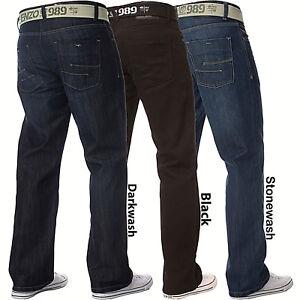 Nouveau-Enzo-pour-homme-travail-Basic-Straight-Regular-Leg-Fit-Blue-Belt-Denim-Jeans-Grande-Taille