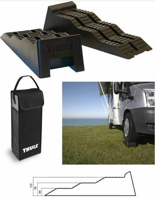 THULE Level Ramps x 2  - Levelling Ramps & Storage Bag - Caravan / Motorhome
