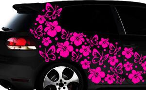 108-piezas-kit-pegatinas-de-coches-Flores-del-Hibisco-mariposas-Hawai
