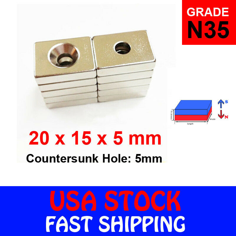 "US Ship 50Pcs Block Cube Cuboid N35 Magnets NdFeB 4x2.5x1.5mm//0.16x0.1x0.06/"""