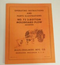 Allis Chalmers 73 3 Bottom Pick Up Plow Owners Manual Snap Coupler