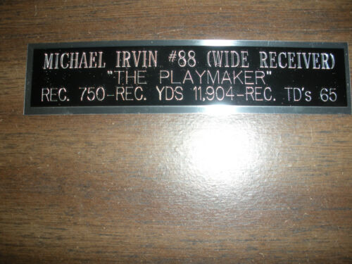 MICHAEL IRVIN ENGRAVED NAMEPLATE FOR PHOTO//DISPLAY//POSTER COWBOYS