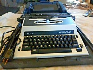 Royal Aristocrat Vintage Electric Portable Typewriter Black White with Case...