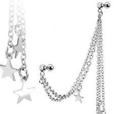 1 Helix Ohrpiercing Sterne Stern Kette Silber 1,2 x6mm 2 Teile Piercing Barbell