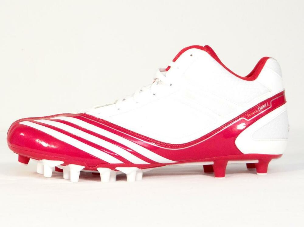 Adidas Scorch Thrill Super Mid blanc & rouge Football Cleats chaussures homme NWT
