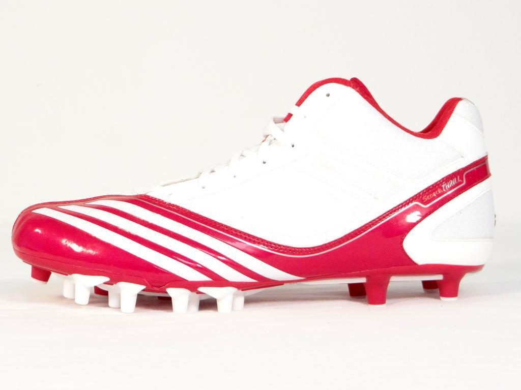 Adidas Scorch Thrill Super Mid White & Red Football Cleats Shoes Uomo NWT