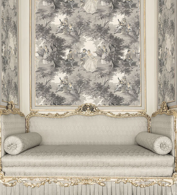 """12""""/31cm Wallpaper SAMPLE Victorian Lovers Toile in Gray GC29835"""