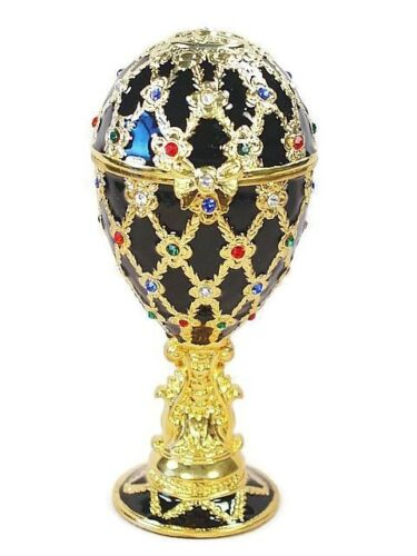 Jeweled Egg Ring Musical Jewelry Box Black Glazed Crystal Metal Egg Trinket Box