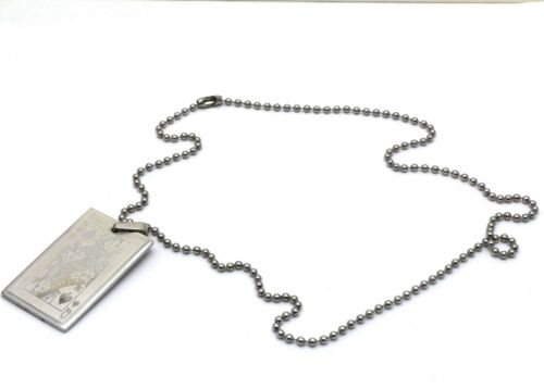 4 x 2.5 cm Pendant Queen of Spades Card Design Metal Beaded Necklace