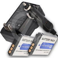 2x Battery+home Wall Car Charger For Sony Cyber-shot Dsc-t90 Digital Camera