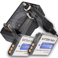 2x Battery+home Wall Car Charger For Sony Cyber-shot Dsc-t70 Digital Camera