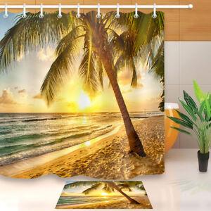 Image Is Loading Sunset Sandbeach Palm Tree Shower Curtain Hook Bathroom