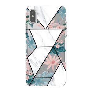 Coque Iphone XS MAX marbre blanc fleur pastel transparente