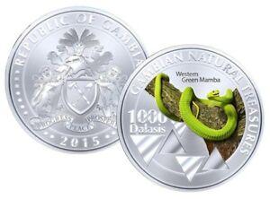 Gambia-1000-Dalasis-2015-UNC-Western-Green-Mamba-Snake-Commemorative-coin