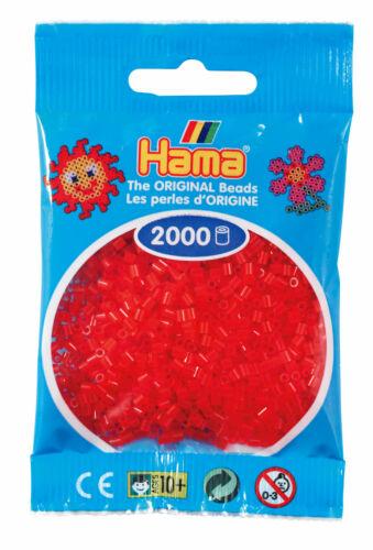 Hama 2000 Mini Bügelperlen 501-13 Transparent-Rot Ø 2,5 mm Perlen Steckperlen