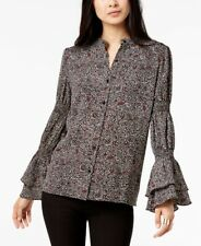 Michael Kors 24325 Printed Flared-sleeve Blouse Womens Top M