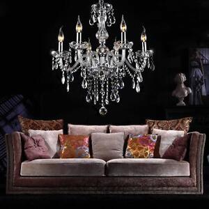 Crystal-Plafonnier-Chandelier-lighting-Lamp-PATE-DE-VERRE-6-A-Feux-pampilles