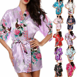 9cbfad5650 Women Silk stain Robe Short Wedding Bride Bridesmaid Floral Bathrobe ...