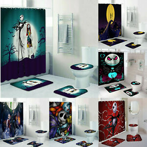 The-Nightmare-Before-Christmas-4PC-Bathroom-Rugs-Shower-Curtain-Toilet-Lid-Cover