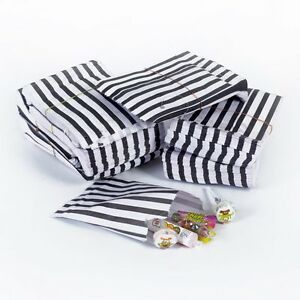 Image Is Loading 100 Biodegradable Black Candy Stripe Sweet Gift Wedding