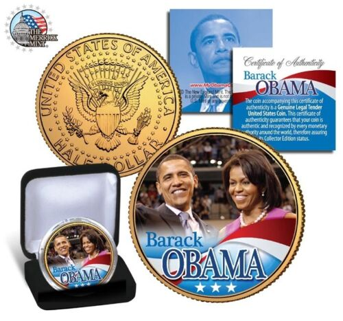 BARACK /& MICHELLE OBAMA KENNEDY  U.S.24 KARAT GOLD HALF DOLLAR WITH GIFT BOX