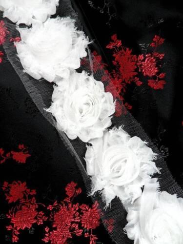 """C665 White Rose Sewing Trim 2.5/"""""""
