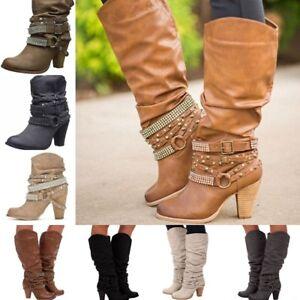 Fashion-Womens-Block-High-Heel-Buckle-Rivet-Punk-Boots-Mid-Calf-Boots-Shoes-Size