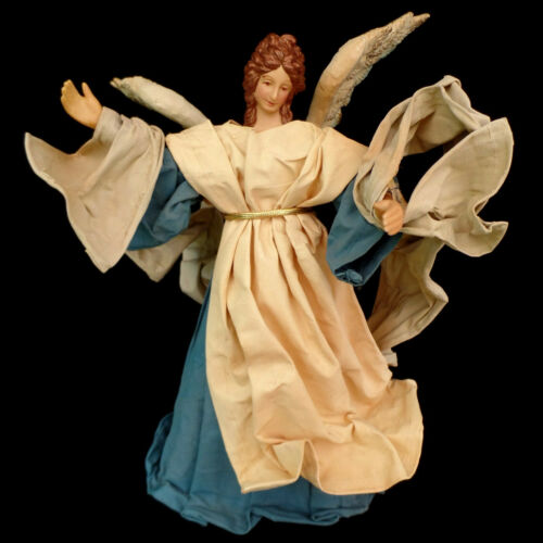 FABRIC MACHE MADE in TAIWAN vintage BLUE CHRISTMAS ANGEL TREE TOPPER