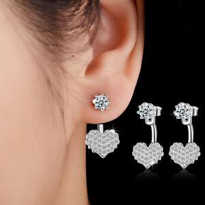 Fashion-Jewellery-925-Sterling-Silver-Zircon-Sweet-Heart-Stud-Drop-Earrings-Gift