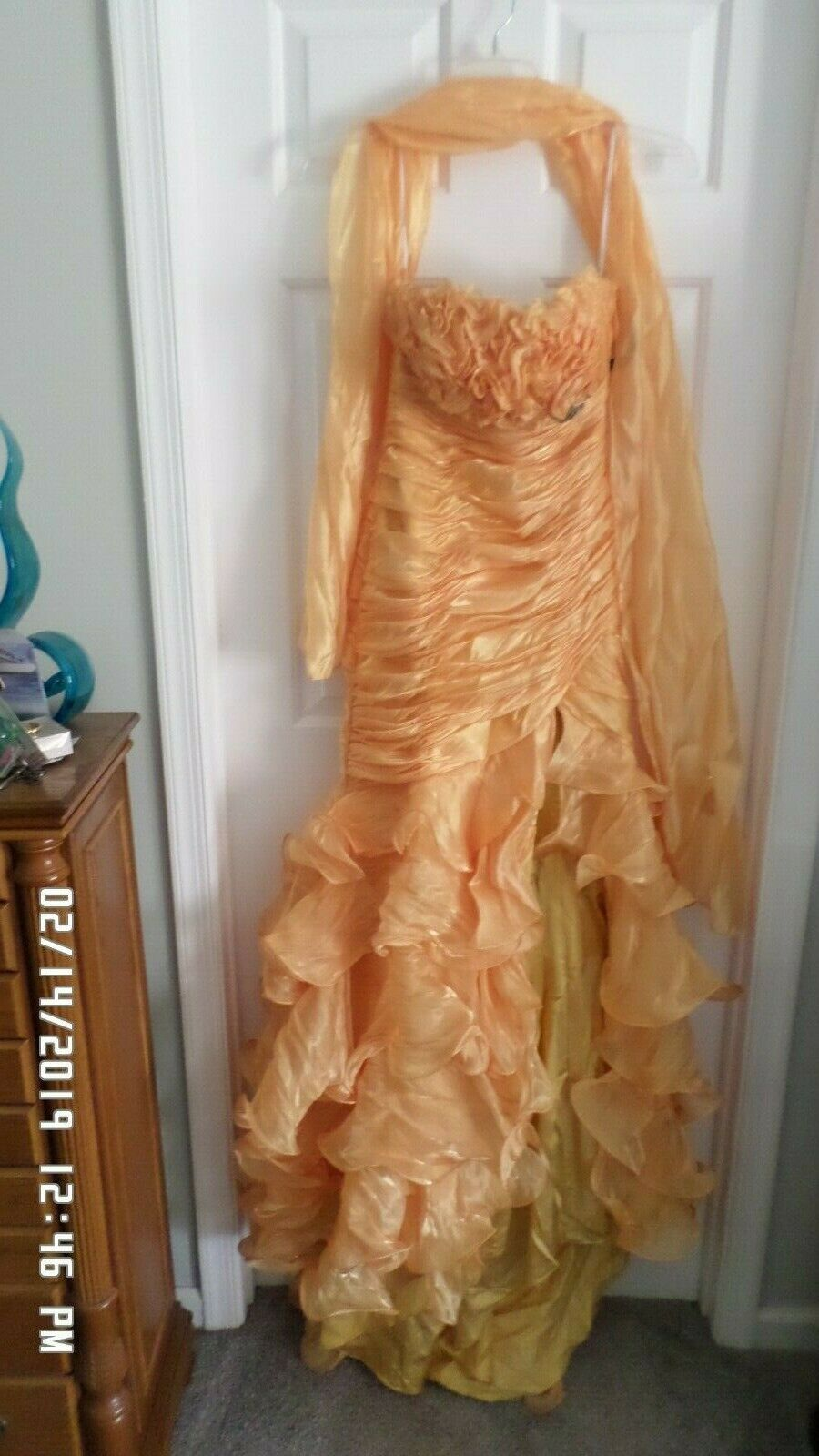 NWT  ALYCE Designs Sz 8 MARIgold bead jewel Formal Prom Party Sexy Hi Lo Gown