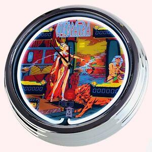 "N-0712 Wall Clock "" Pinball Cleopatra Gottlieb 1977 Neon Kitchen Watch Game Room"