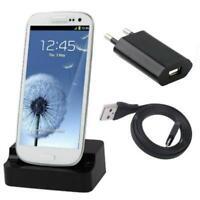 3in1 Dockingstation mit Netzteil Ladekabel für Samsung S4 Mini, S5 Mini -Schwarz